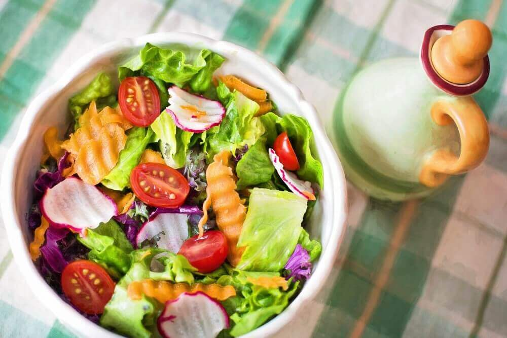 a plate of salad