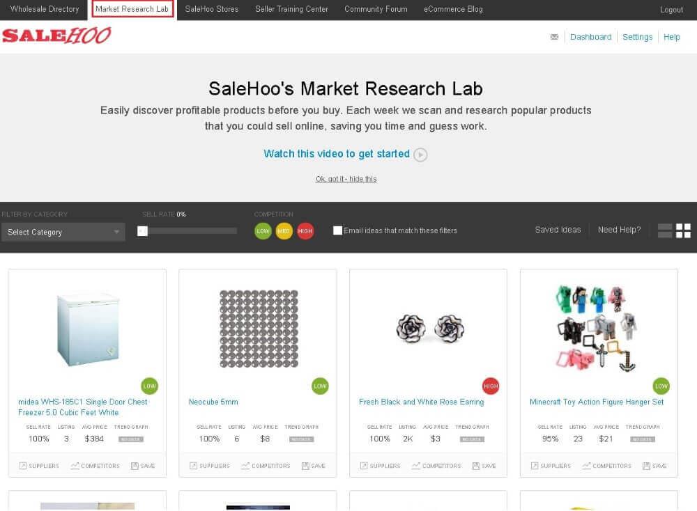 screenshot of salehoo