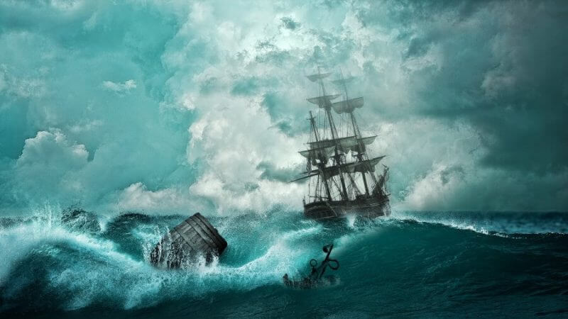 ship in an ocean with strong waves