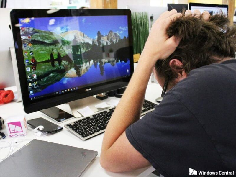 man frustrated about his computer