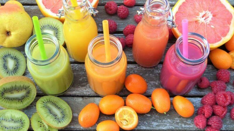 a colllection of different juice