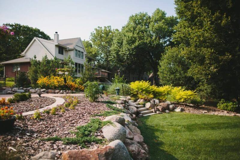 outside of a home well landscaped
