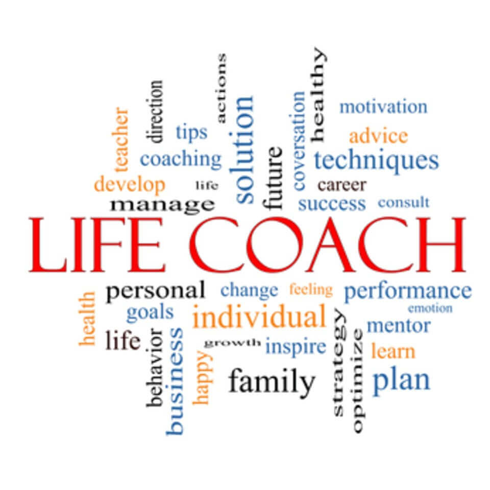 Life Coach Word Cloud Concept with great terms such as actions, goals, change and more.