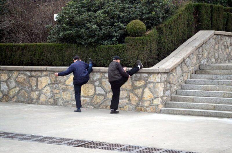 men stretching