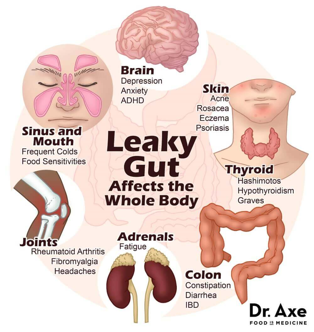 body parts showing leaky gut effects