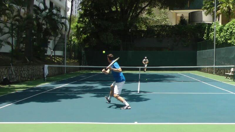 man training for tennis