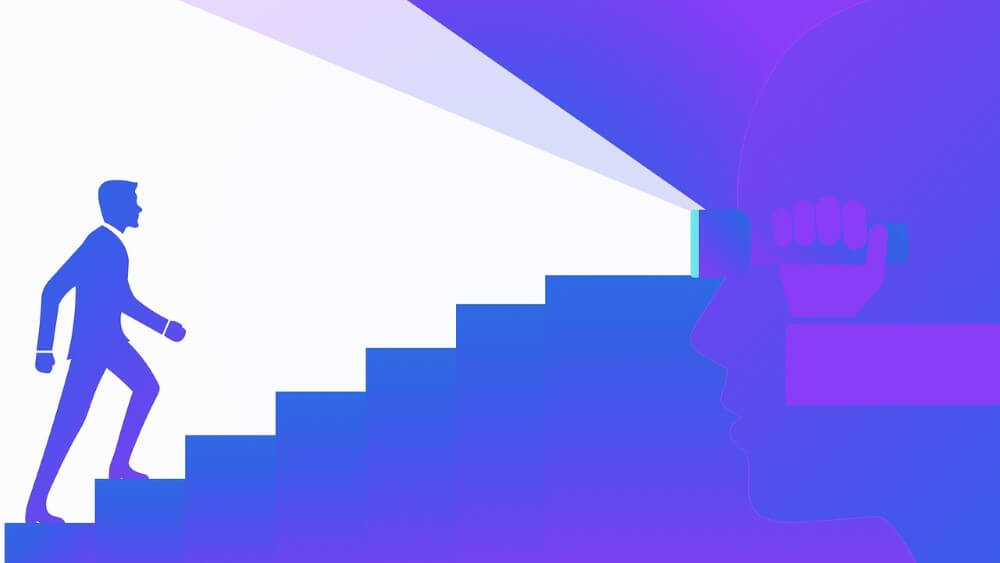 man in blue climbing stairs