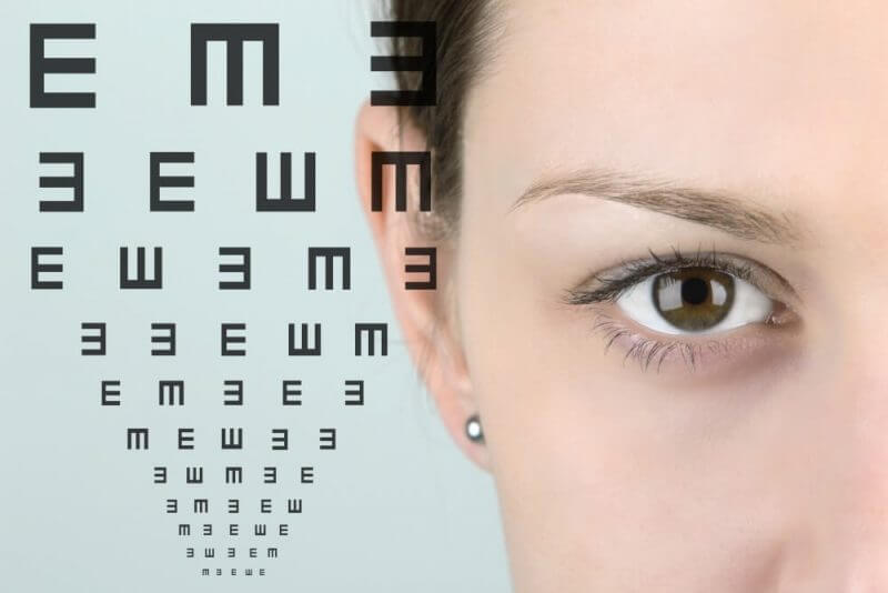 Close up of a woman's eye with test vision chart.