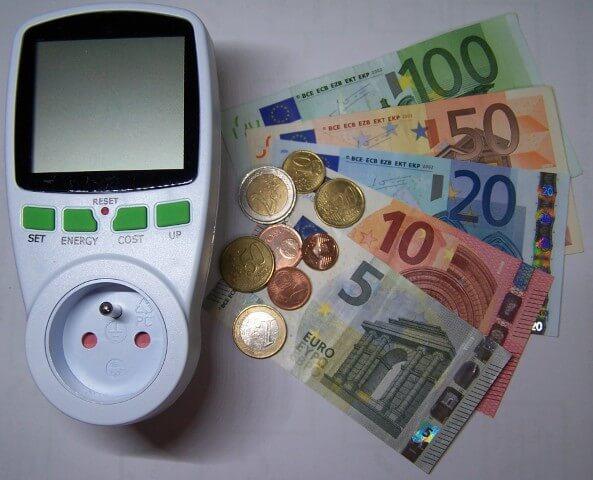 watt meter euro bills and coins