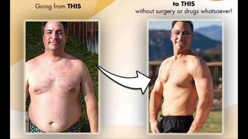 man showing change in his body before and after