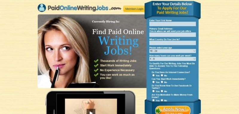 writing job site